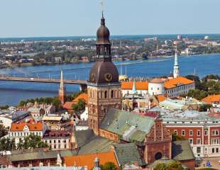 Panorama view from Riga cathedral on old town of Riga