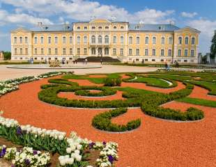 Rundale baroque palace with garden in foreground
