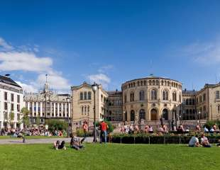 The Norwegian parliament Stortinget, Oslo - panorama view