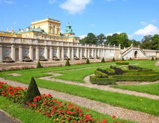 Warsaw, Poland. Famous Wilanow palace and gardens. Old landmark
